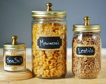 Gift Set of Three Mason Jar Storage Canisters for Kitchen, with Chalkboard Labels with Gold Frames