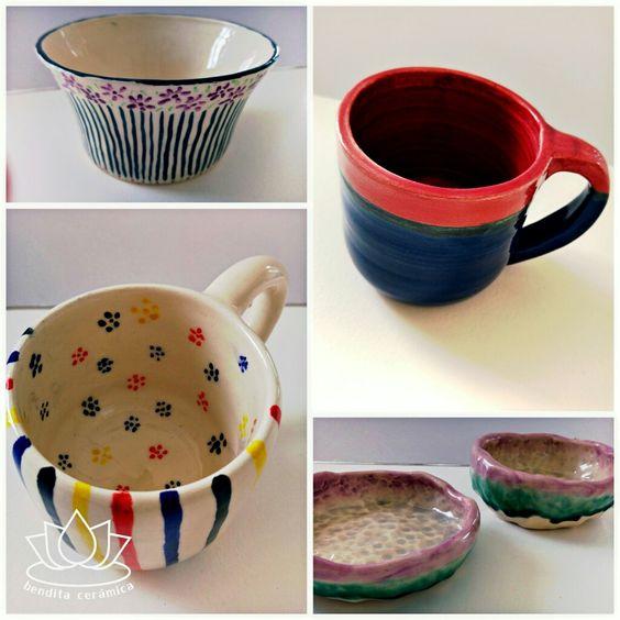 Piezas ceramicas decoradas con pigmentos bajo cubierta y esmaltes ceramicos. # piezasdealumnos