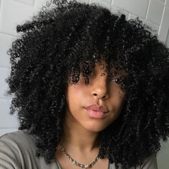 Beautiful Natural Hairstyles With Bangs Eazy Vibe Curly Hair Styles Naturally 4a Natural Hair Natural Hair Styles