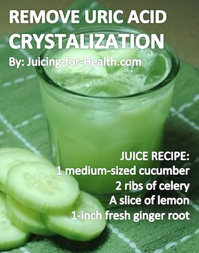 Cucumber juice helps bring down body temperature, is highly alkalizing and effective for removing uric acid crystalization in joints, like in the case of GOUT. There may be a slight pain when drinking this juice - it is the stirring of the old toxins to be eliminated. The celery and ginger will help reduce inflammation during the cleansing. If you're also looking for some new vegan recipes come and check out yummspiration.com :) We are also on facebook.com/yummspiration Stay hidrated!
