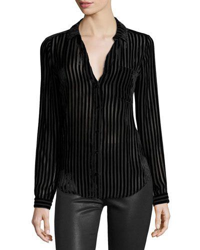 Linara Burnout Velvet Shirt, Black