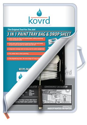 Warline top 5 exterior painting products 2012 - Kovrd is a plastic tray bag with a zipper to store a tray and roller full of wet paint that unfolds to become a drop sheet as well.