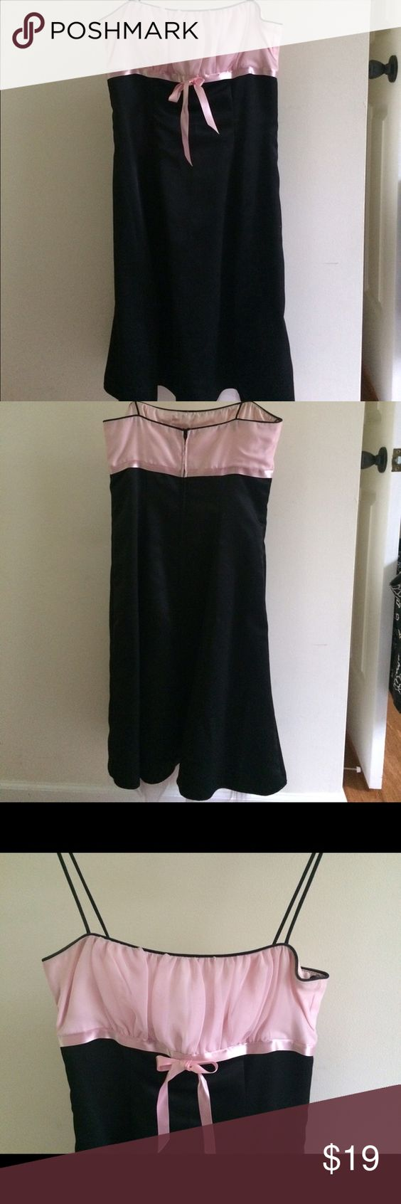 Classy black and pink cocktail dress! Classy black dress w pink ruffle and bow. Worn once! Perfect for a wedding, date night, or party! Size 7 from Nordstrom. Zum Zum Dresses