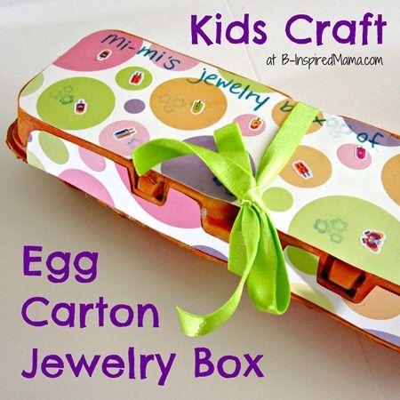 Kids Craft: Egg Carton Jewelry Box Gift for Grandma from B-InspiredMama.com