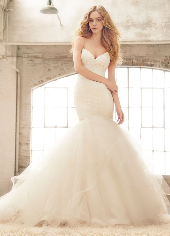 <p>Bianca</p>Ivory lace fit to flare bridal gown, sweetheart neckline and angel hair straps, full skirt of layered tulle with thin horsehair edging. Bridal Gowns, Wedding Dresses - Jim Hjelm Blush  - JLM Couture Inc. - Bridal Style 1552 by JLM Couture, Inc.