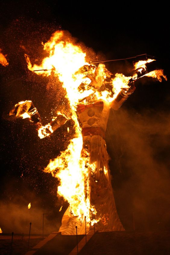 Did you know?  Once ablaze, the fire consumes the beast & the feelings of gloom  are released fr the past yr. #Sep4