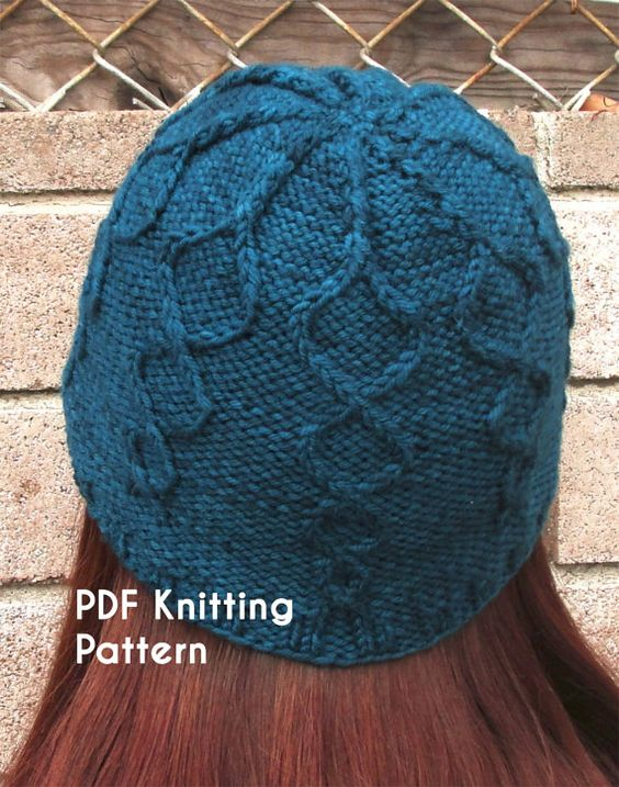 Knit Beanie Pattern Worsted Weight : PDF Knitting Pattern: Helix Beanie, worsted-weight, cabled ...