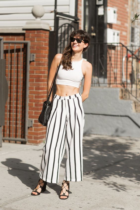 Striped culottes and a crop top make the perfect Summer outfit