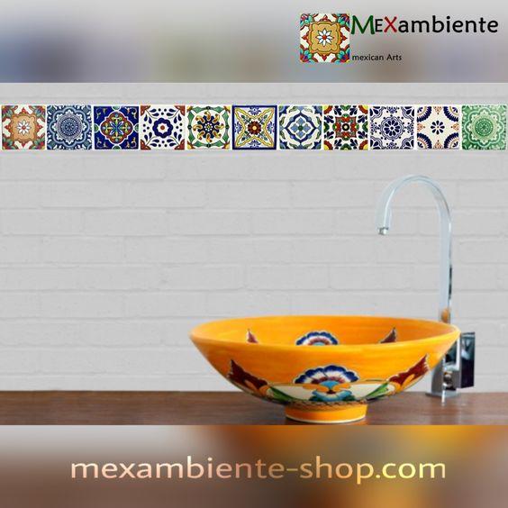 exklusive handwaschbecken aus mexiko mit originellen designs und bunten dekorfliesen f r ein. Black Bedroom Furniture Sets. Home Design Ideas