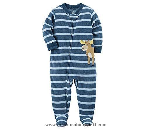 Baby Boy Clothes Carter S Baby Boys 12m 24m One Piece Moose Fleece Pajamas 12 Months Carters Baby Boys Boys Sleepwear Baby Boy Pajamas