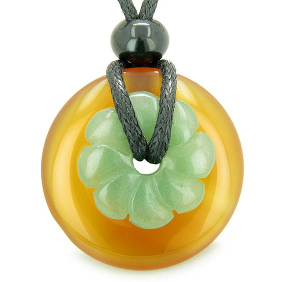 Amulet Donut Flower Carnelian Green Quartz Powers Pendant Necklace