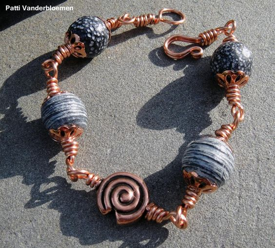 Rustic Black and White - Copper Bracelet