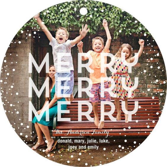 A cute round ornament card is a fun and unique holiday photo card idea. #TinyPrintsCheer
