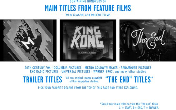 The Movie Titles Stills Collection - A collection containing hundreds of main, trailer, and end titles from feature films, both classic and recent.