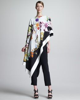 -478M Etro Asymmetric Printed Poncho & Cropped Ankle Pants