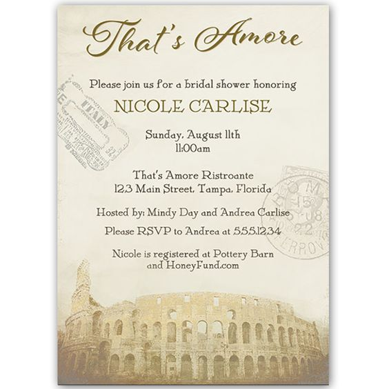 That 39 s amore chocolate bridal shower invitation the o for Italian bridal shower invitations