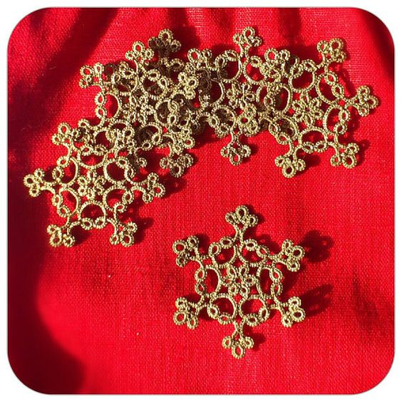 6 Tatted snowflakes traditional Christmas decoration by LaceLounge, $25.00