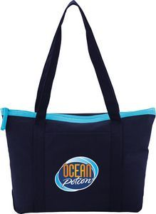 Color Pop Zippered Cotton Boat Tote Bag