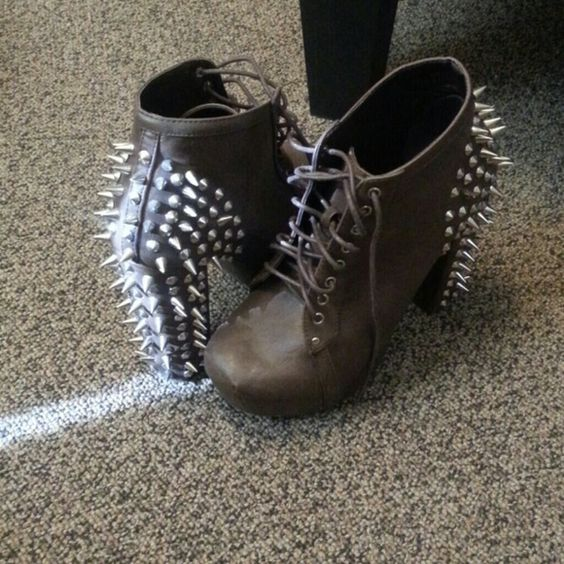 Brown spiked booties Make me offers Vintage Shoes