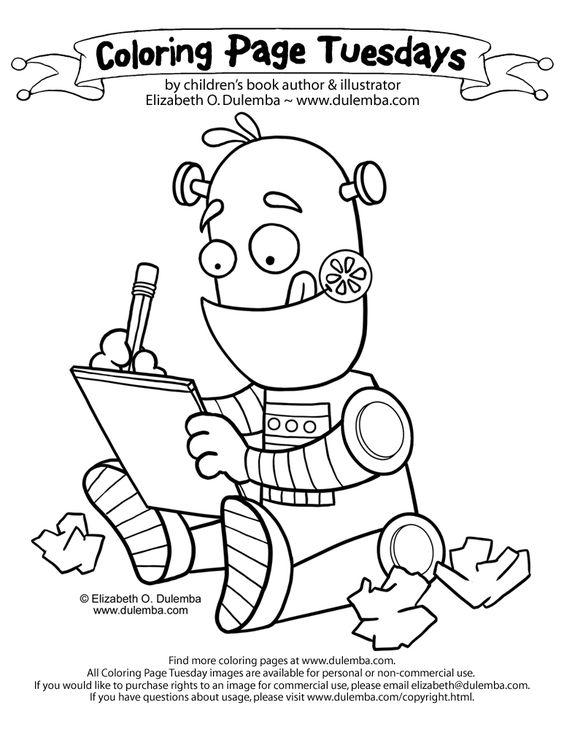 dulemba: Coloring Page Tuesday Writing Robot Robot