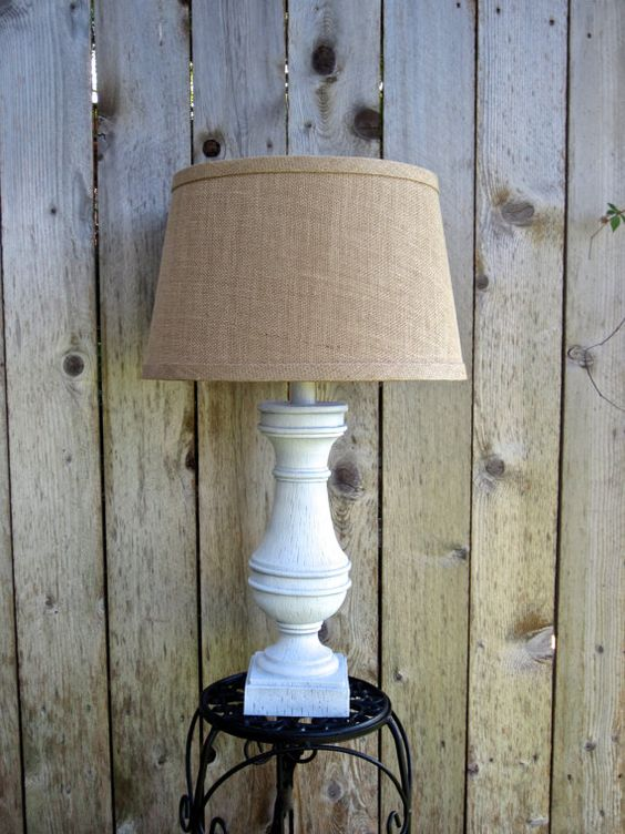 You Pick CUSTOM COLOR Large Rustic Table Lamp Cottage Chic Vintage Distressed Customizable Lampshade Hand Painted Annie Sloan Chalk Paint On Etsy