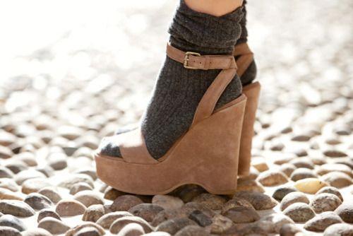 socks with platform sandals