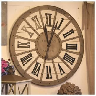 Horloge gare metal bois murale style industriel 93 cm for Decoration murale industrielle