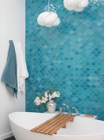 Shop this look! Buy handmade tile online. Medium Moroccan Fish Scales - 1015E Caribbean Blue