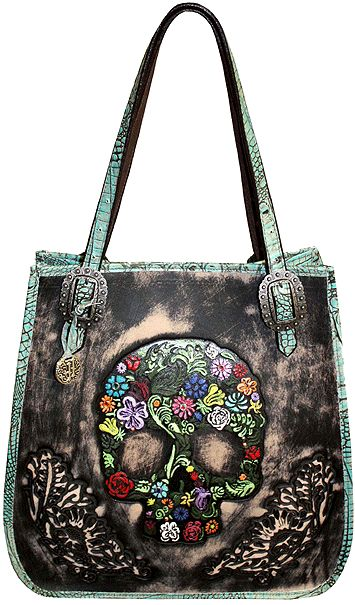 Vintage Black Leather Doctors Bag Trimmed in Turquoise Gator with hand tooled and painted Skull on front. Embellished with a few crystals and dots and finished with Antique Berry Buckles.