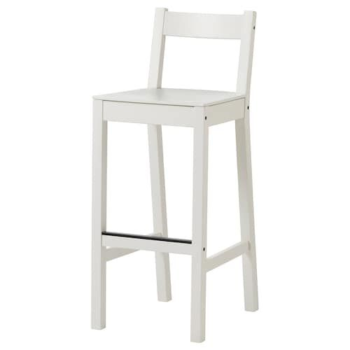 Ingolf Bar Stool With Backrest White 24 3 4 Bar Stools