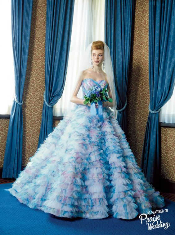 Stunning watercolor ruffle gown from M /Mika Ninagawa