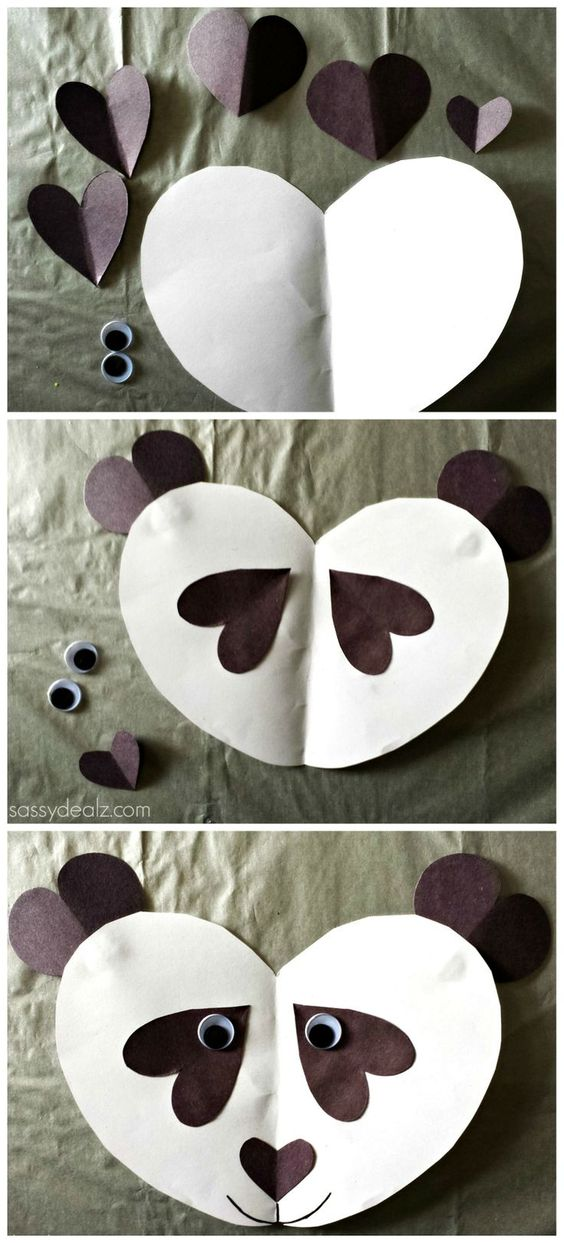 #Panda #Craft For Kids - Made out of paper hearts!   http://www.sassydealz.com/2014/02/panda-bear-craft-for-kids.html