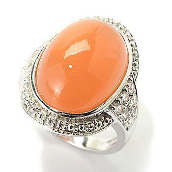 Gem Treasures® Sterling Silver 17.5 x 13mm Oval Moonstone & White Topaz Ring