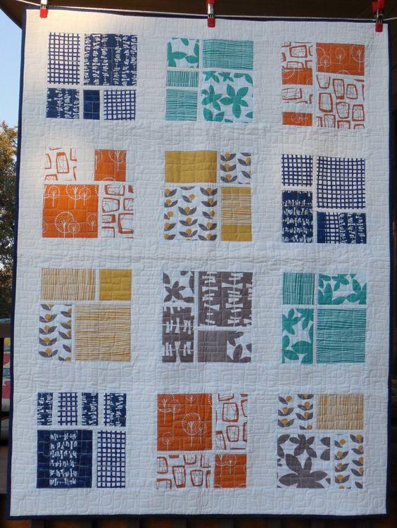 Modern quilt  geometric print by dawnandgingersew on Etsy, $175.00: