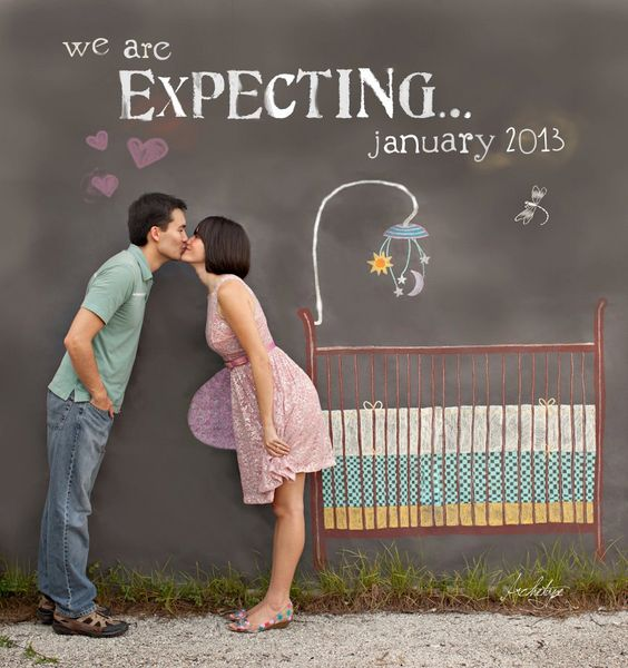 Such an amazing idea! I love the use of the blackboard and fake baby bump!