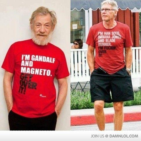 Gandalf vs. Han solo: Harrisonford, Harrison Ford, Giggle, T Shirt, Funny Stuff, Han Solo, Ian Mckellen, Indiana Jones