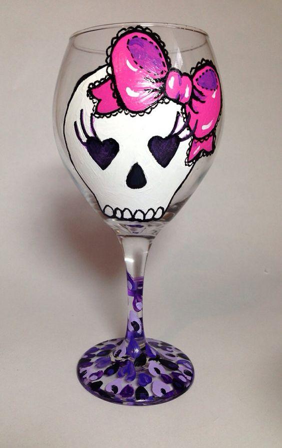 Sugar Skull Wine Glass on Etsy, $25.00