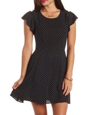 cage-back polka dot skater dress