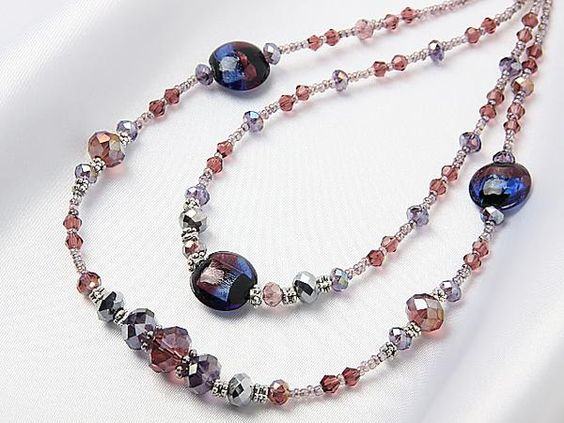 ハンドメイド 1円 ITALY製ベネチアングラスネックレスR166パープル Handmade necklace ¥21円 〆03月24日