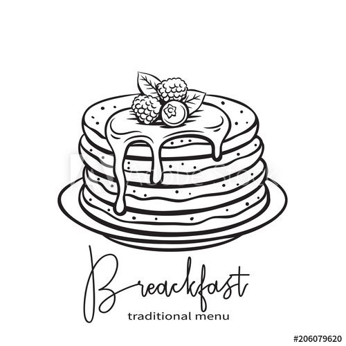Hand Drawn Pancakes How To Draw Hands Food Coloring Pages Pancake Drawing