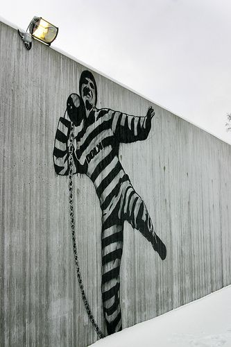 At the newly opened Halden Fengsel prison in Norway, there's a startling focus on design, art and architecture, a triumvirate that seems never to find a place behind bars. Murals by graffiti artist, Dolk.