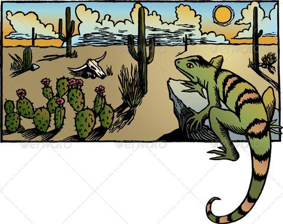 Desert Sunrise  #GraphicRiver         A desert landscape scene with cacti and a lizard.     Created: 13May13 GraphicsFilesIncluded: VectorEPS Layered: Yes MinimumAdobeCSVersion: CS Tags: amphibian #arid #barren #block #cacti #cactus #clouds #desert #dry #flower #horizon #landscape #lizard #outdoors #print #relief #reptile #rock #salamander #sand #skull #sky #sunrise #sunset #tumbleweed #vector #woodcut