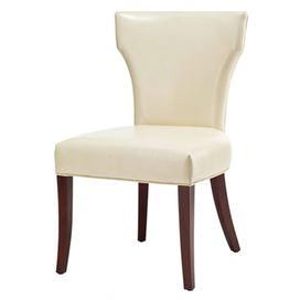 Set of two side chair with a bicast leather upholstery.    Product: Set of 2 side chairs Color: White Construction Material: Solid alder lacquer legs and bicast leather upholsteryDimensions: 37 H x 19 W x 21 D each Note: Some assembly required  Cleaning and Care: Spot clean