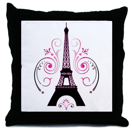 Eiffel Tower Swirl Design Throw Pillow