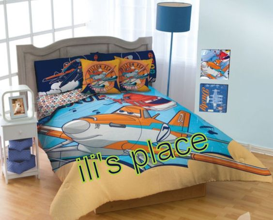 details about twin and full size boys disney fire rescue planes comforter set disney boys. Black Bedroom Furniture Sets. Home Design Ideas