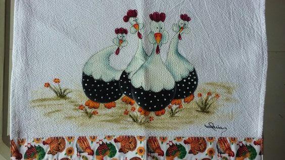 Pano de prato - galinhas d'angola