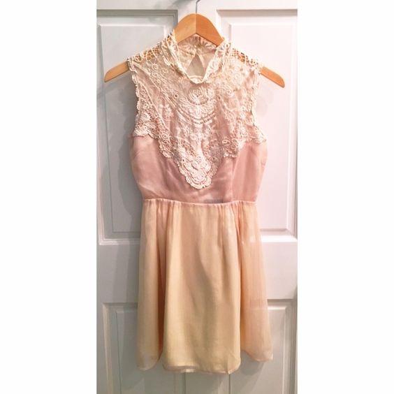 Ark & Co creme, short, open back dress Creme, high neck, lace crochet neck, open back, short Ark & Co Dresses Mini