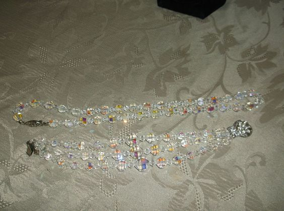 GORGEOUS AB LEAD GLASS FACETED BEADED CRYSTAL NECKLACE & 3 STRAND BRACELET~