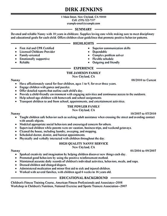 nanny resume example nanny resume examples are made for those who    nanny resume example nanny resume examples are made for those who are professional   the experience