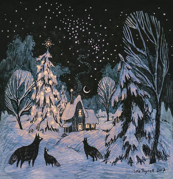 Super cool wolves and snow covered trees painting with starry night and moon. Yule by ullakko